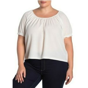 Madewell White Texture & Thread Peasant Top